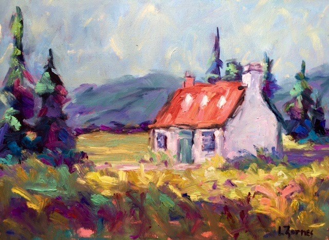 """Meadow Cottage, Scotland"" original fine art by Liz Zornes"