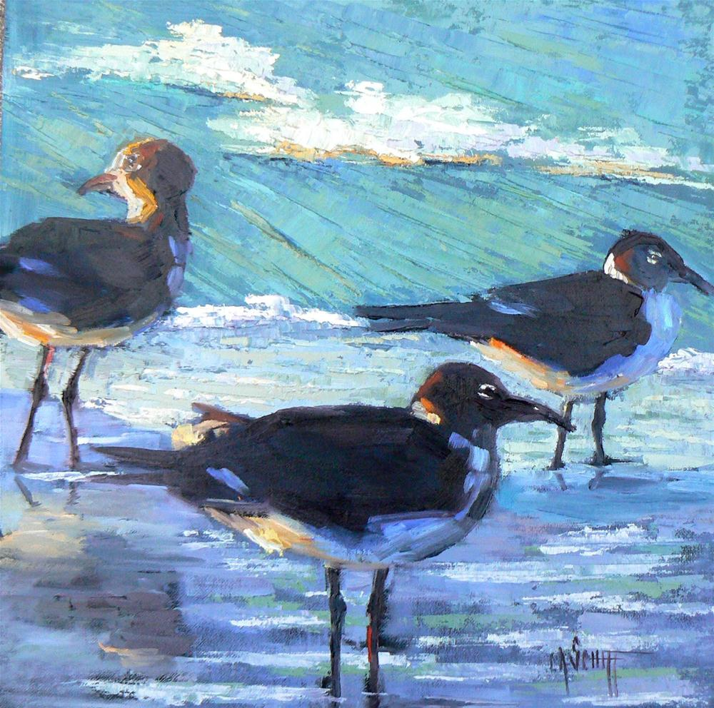 """Daily Oil Painting, Birds, Waverunners 12x12"" original fine art by Carol Schiff"