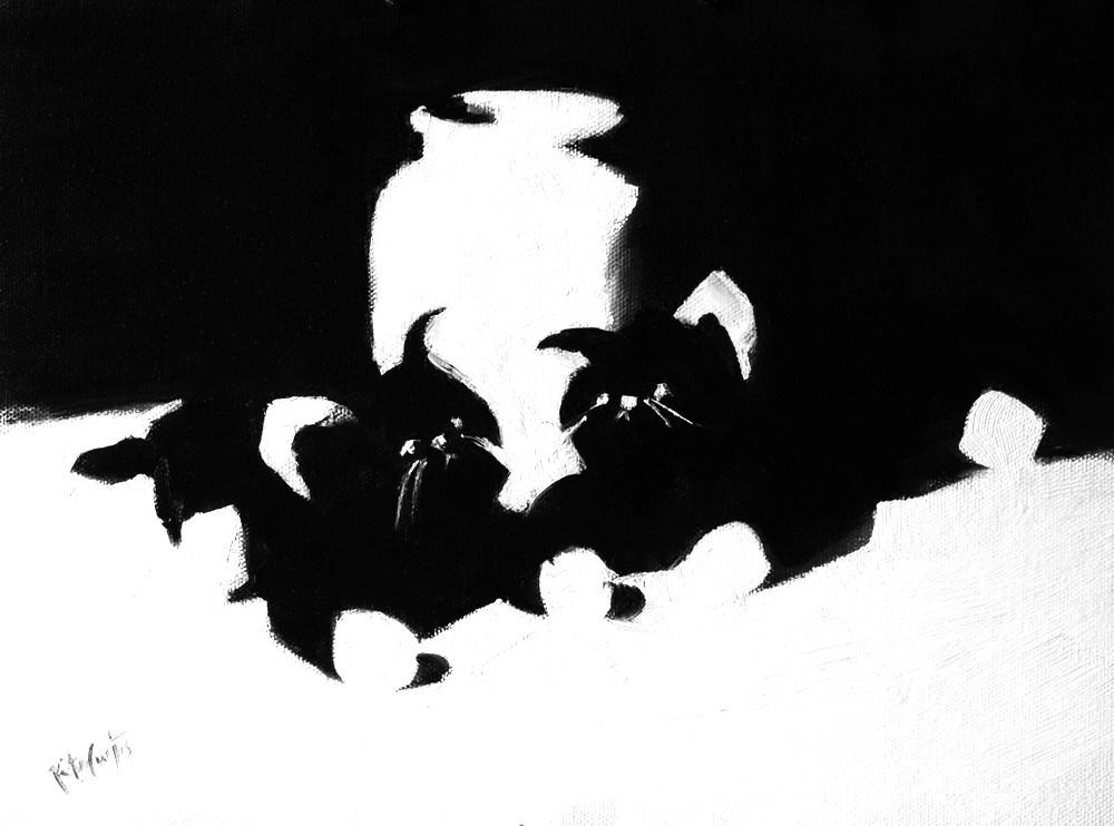 """Floppy Kitties in Black & White"" original fine art by Rita Curtis"