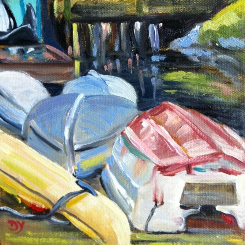 """""""Fisherman's Warf Boats, oil on board, 6x6"""" original fine art by Darlene Young"""