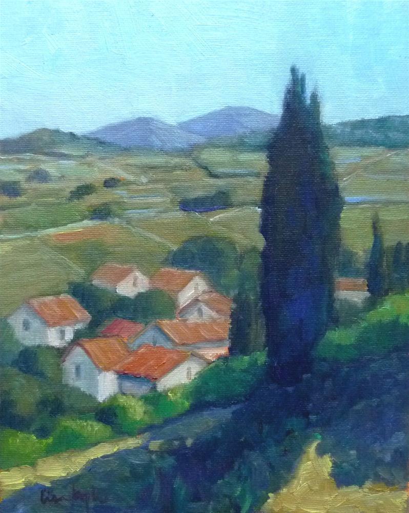 """""""Hillside Town"""" original fine art by Lisa Kyle"""