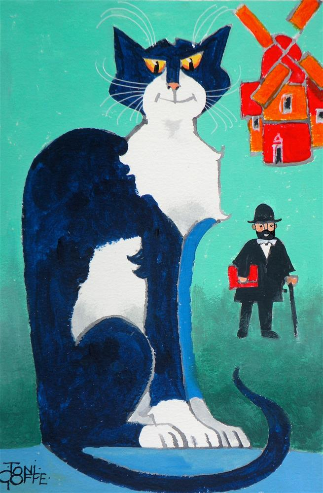 """La Chat de le Moulin Rouge"" original fine art by Toni Goffe"