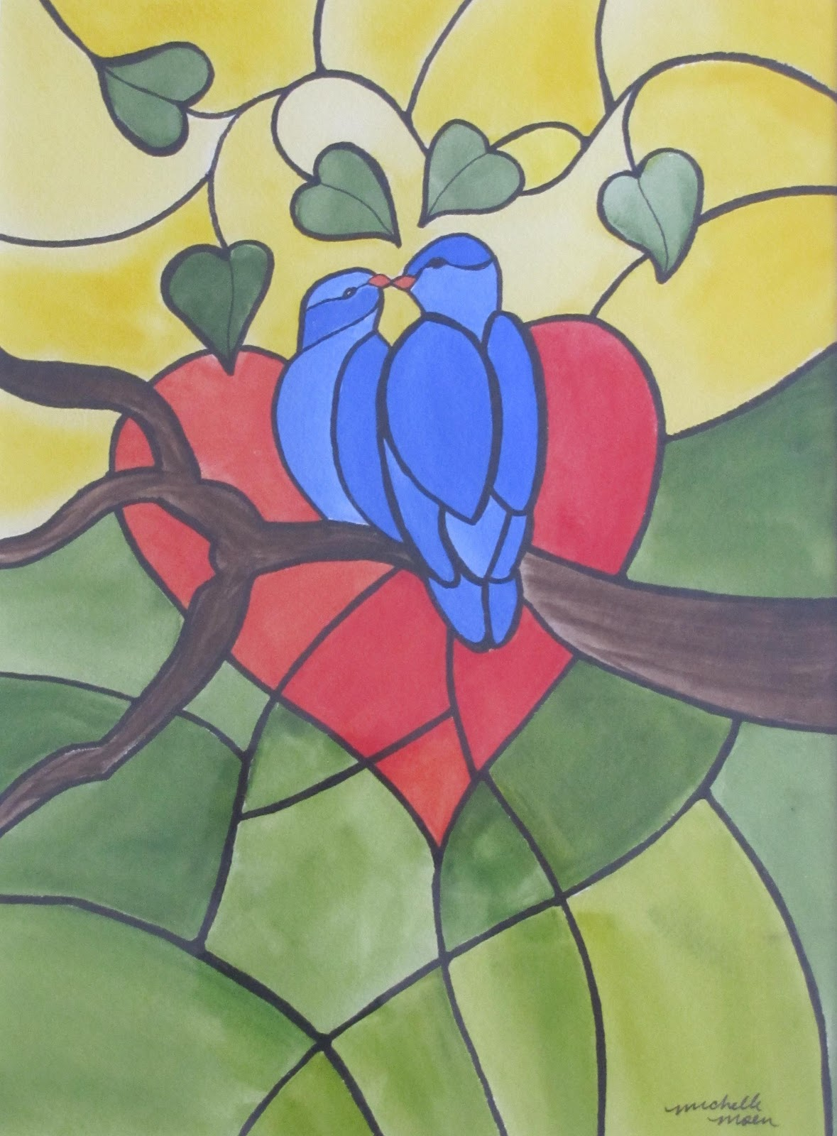"""Love Birds"" original fine art by Michelle Wolfe"