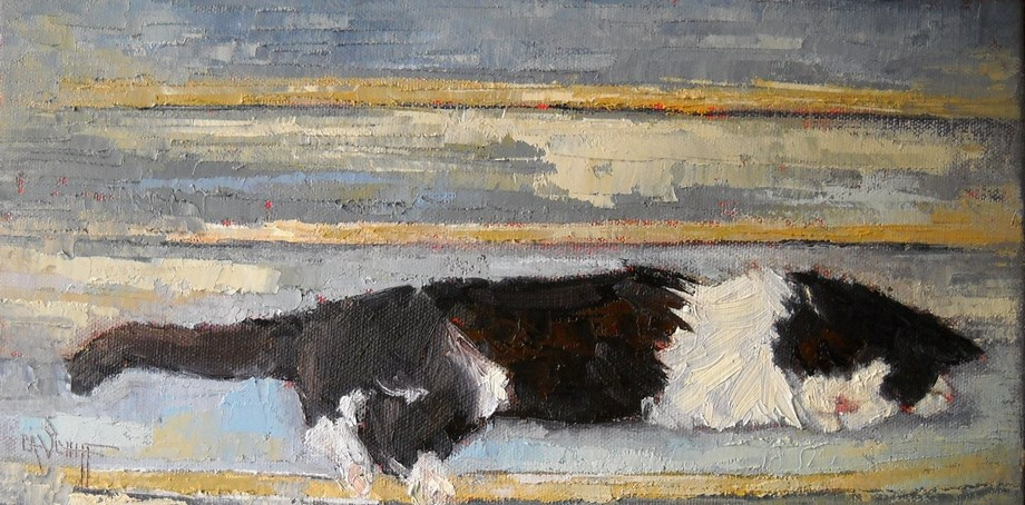 """Cat Painting, Sleeping Kitty by Carol Schiff, 6x12x.75 Oil"" original fine art by Carol Schiff"