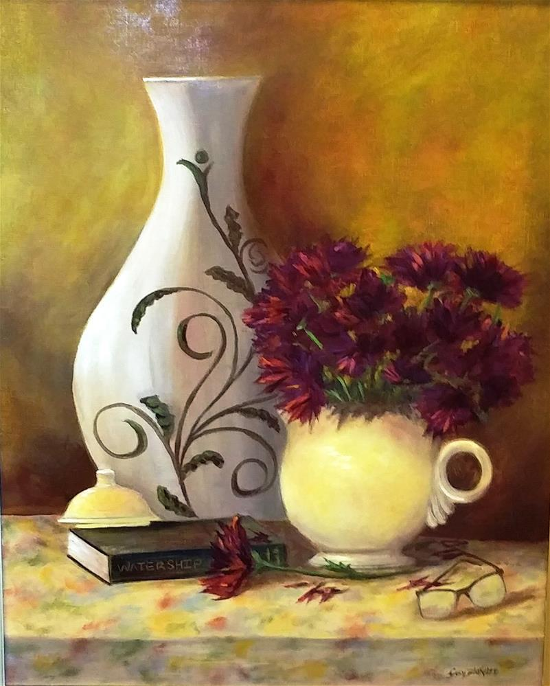 """Yellow Teapot and Mums"" original fine art by Sissy Blakslee"