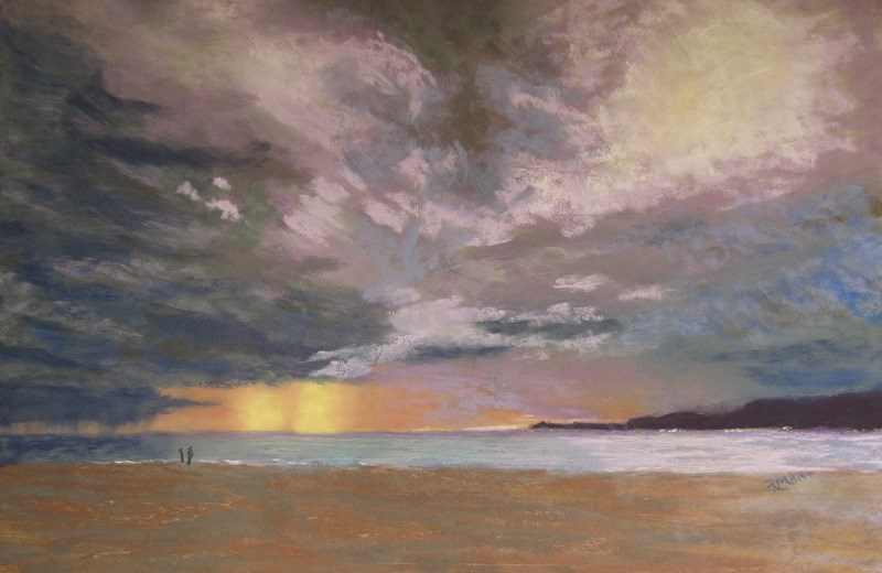 """Storm over the Libyan Sea"" original fine art by Ruth Mann"