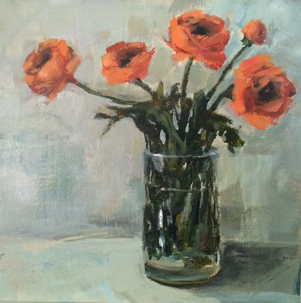 """Orange Ranunculus"" original fine art by Shannon Bauer"