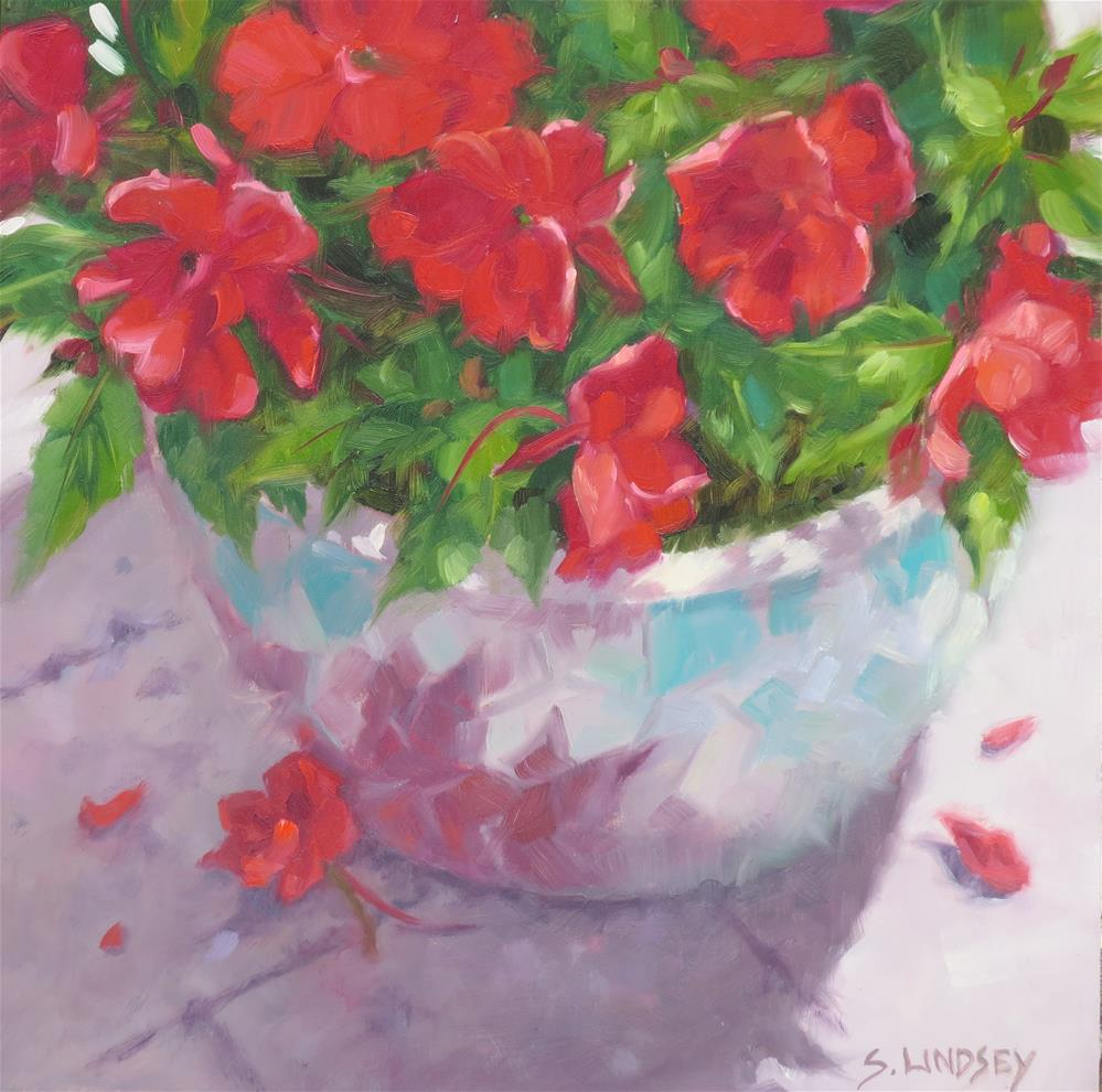 """SunPatiens"" original fine art by Susan Lindsey"