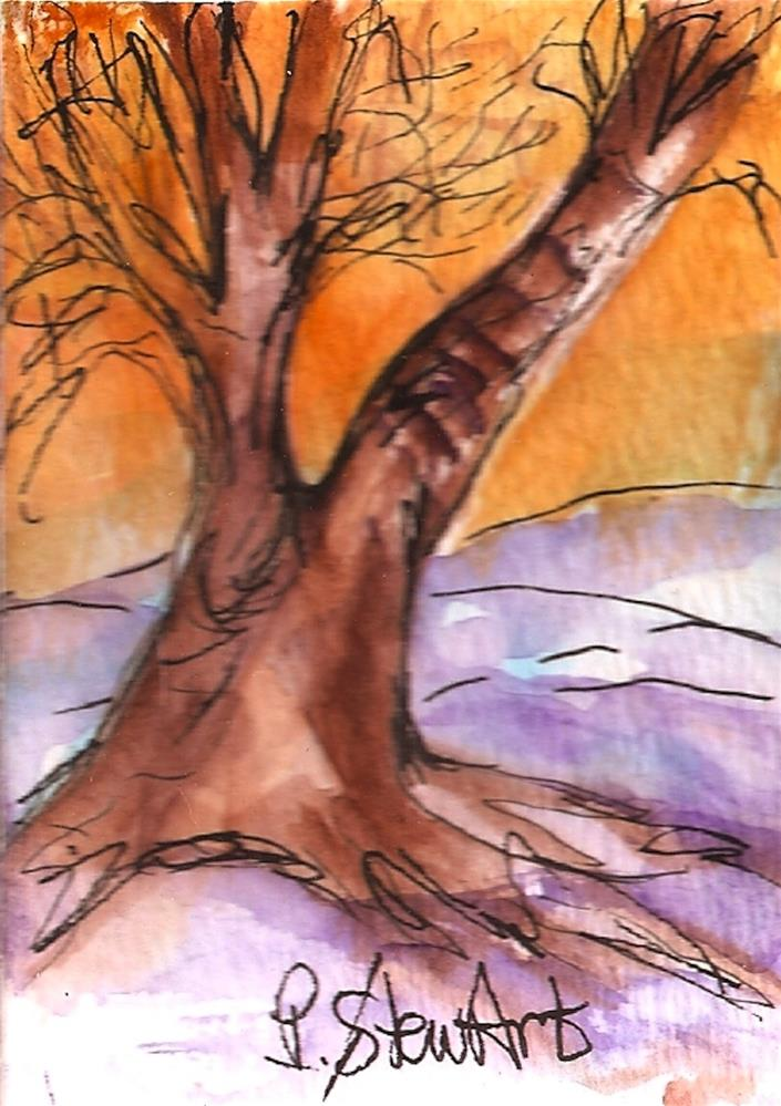 """ACEO Winter Tree at Sunset Watercolor and Pen, Original, Illustration"" original fine art by Penny Lee StewArt"