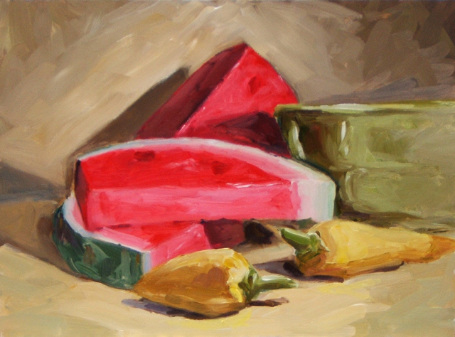 """Watermelon and peppers"" original fine art by Dave Froude"