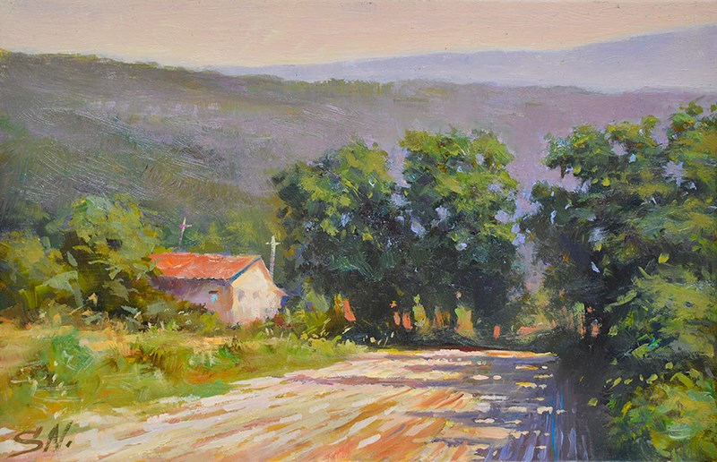 """Tuscany farm house - oil painting"" original fine art by Nick Sarazan"