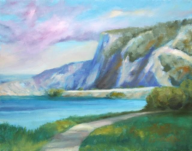 """Columbia River Cliffs"" original fine art by Sue Cervenka"