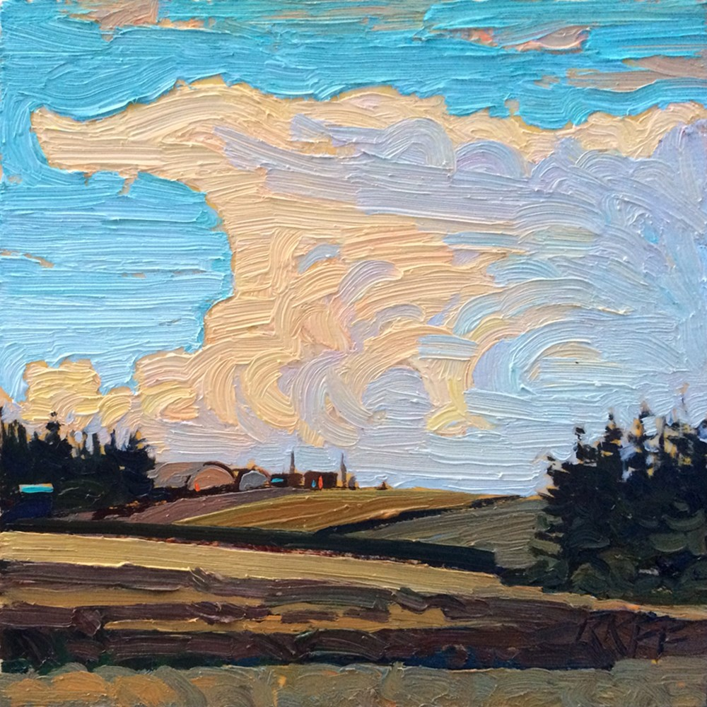 """Farmland Evening: 6x6 oil on panel"" original fine art by Ken Faulks"