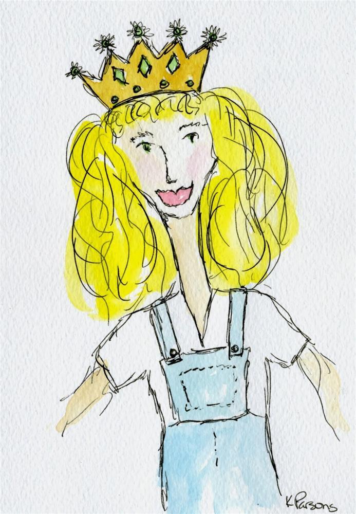 """Princess Overalls"" original fine art by Kali Parsons"