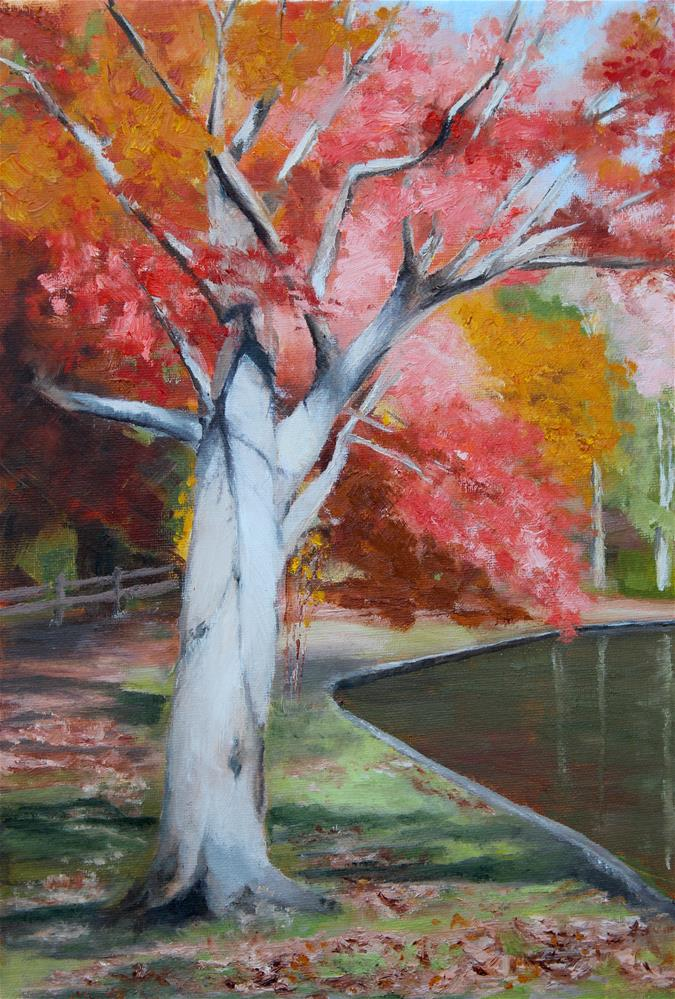 """Autumn in the Park"" original fine art by Maria Reed"