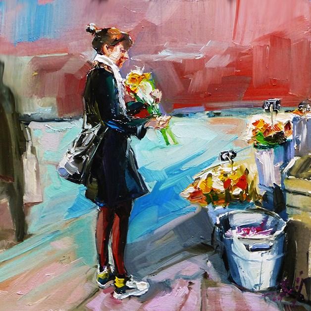 """""""Auf dem Blumenmarkt"""" original fine art by Jurij Frey"""