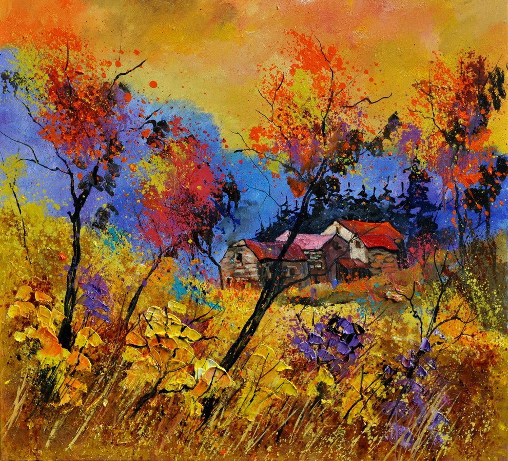 """Landscape autumn 884101"" original fine art by Pol Ledent"