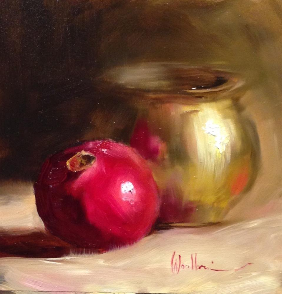 """Brass Pot and Pomegranate"" original fine art by Dorothy Woolbright"