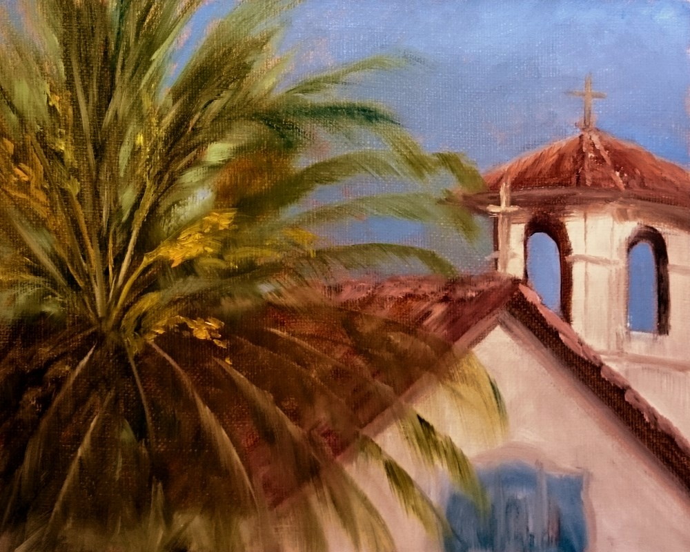 """""""Sonoma Mission And Palm At Sunset"""" original fine art by Dalan Wells"""