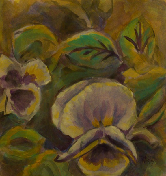 """Botanical Garden 34... more pansies"" original fine art by Richard Huston"