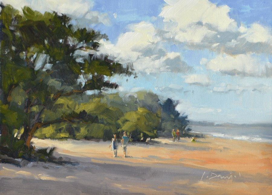 """Beach Walking Day"" original fine art by Laurel Daniel"