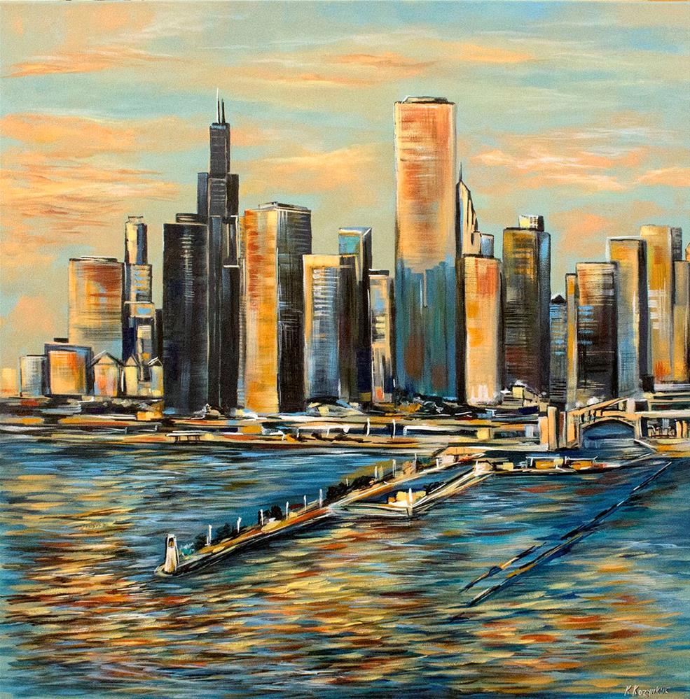 """Chicago Cityscape,original cityscape painting on canvas"" original fine art by Khrystyna Kozyuk"