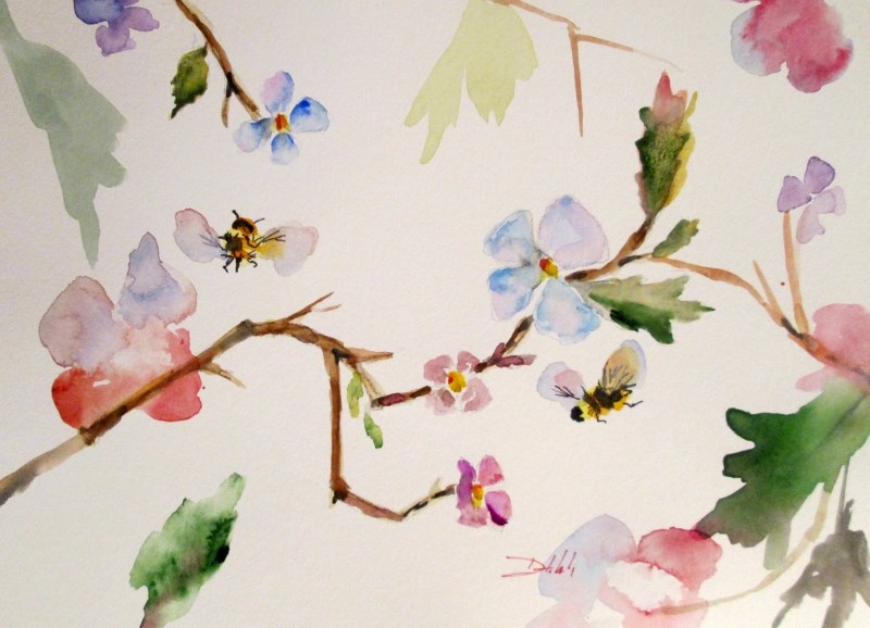 """Blossoms and Bees"" original fine art by Delilah Smith"