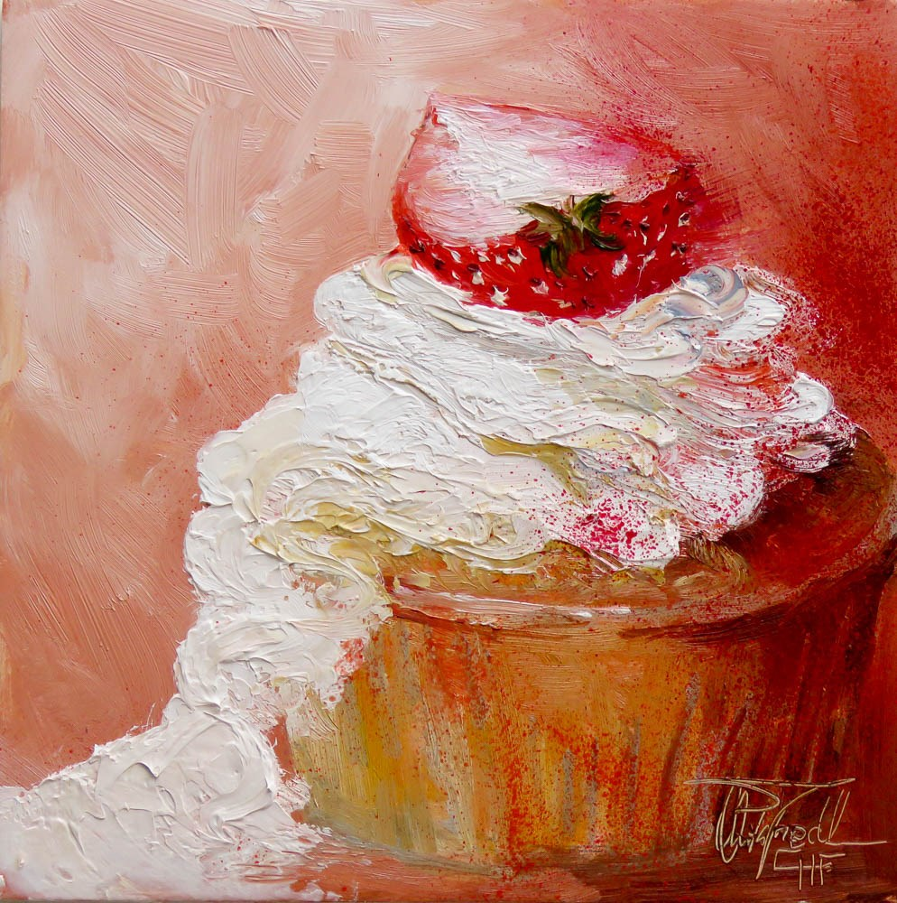 """Whipped cream with side dish"" original fine art by Christa Friedl"