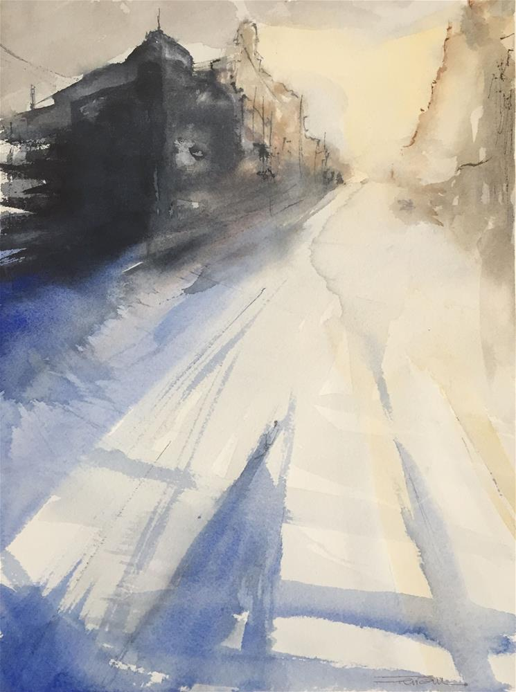 """STREET AT DAWN"" original fine art by Ferran Llagostera"