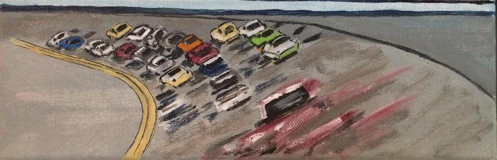 """""""NASCAR# 1 Acrylic  4 x 12"""" original fine art by Nancy Beard"""