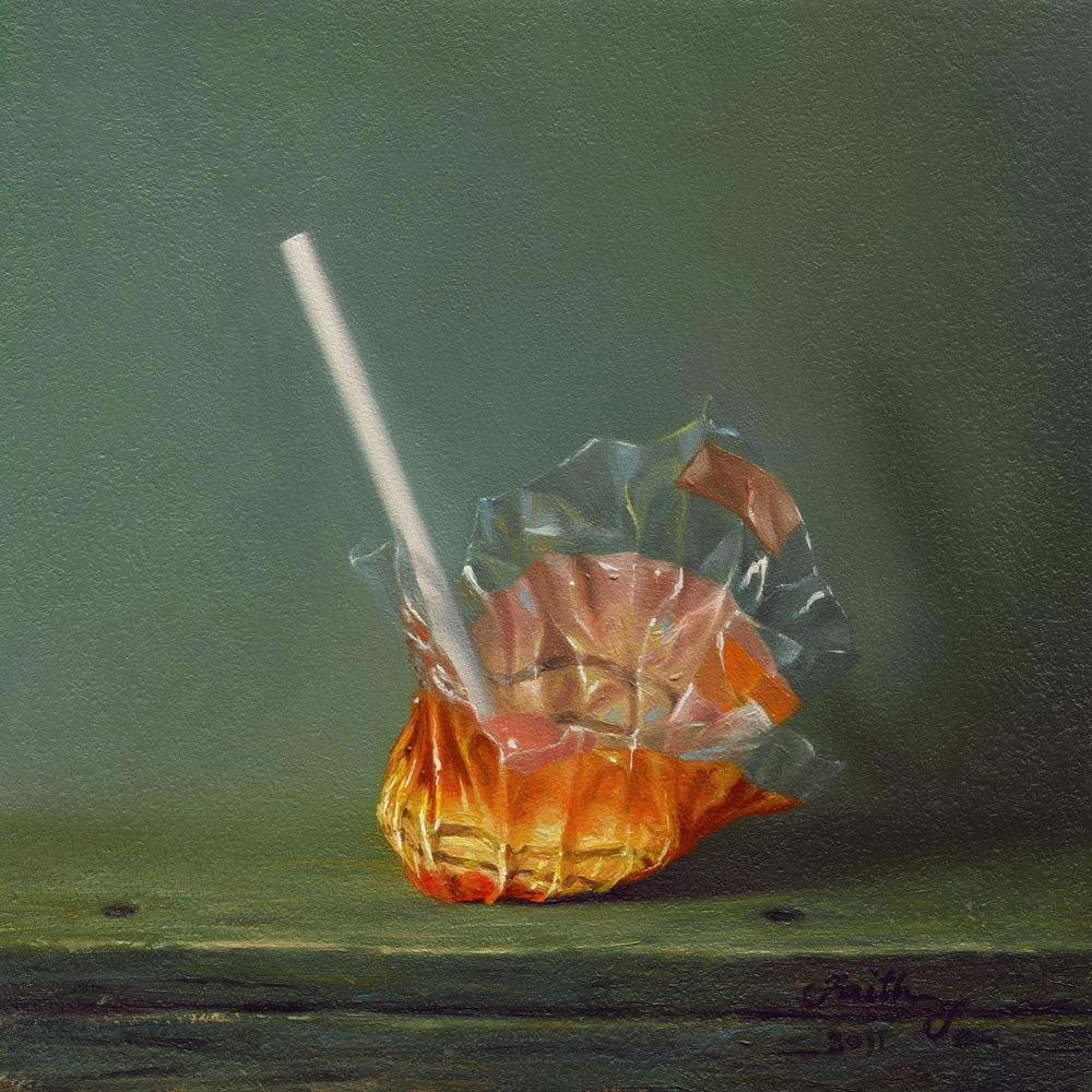 """Half Peeled Orange Lollipop"" original fine art by Faith Te"