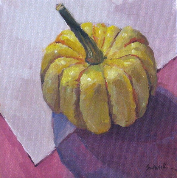 """Gourd on Pink still life oil painting pumpkin squash melon vegetable kitchen art - one dollar auct"" original fine art by Sarah Sedwick"