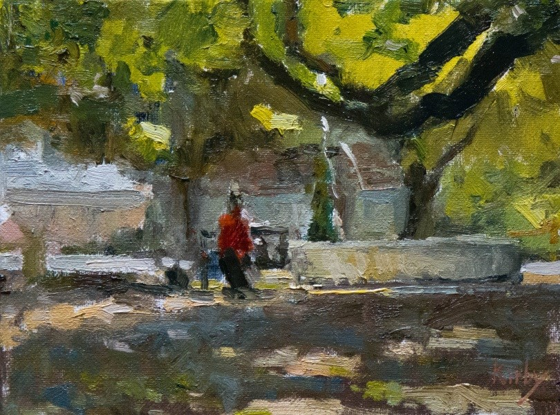 """At the Fountain"" original fine art by Randall Cogburn"