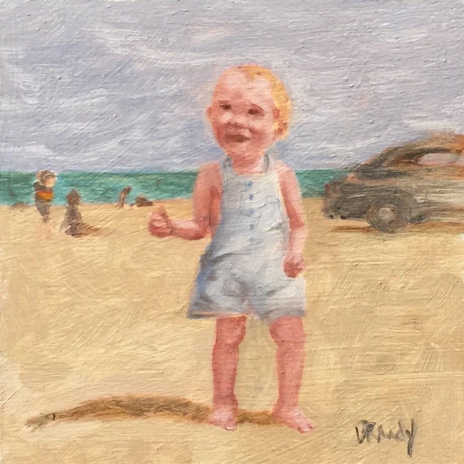 """""""Baby on Beach - 1944"""" original fine art by Stephanie Drawdy"""