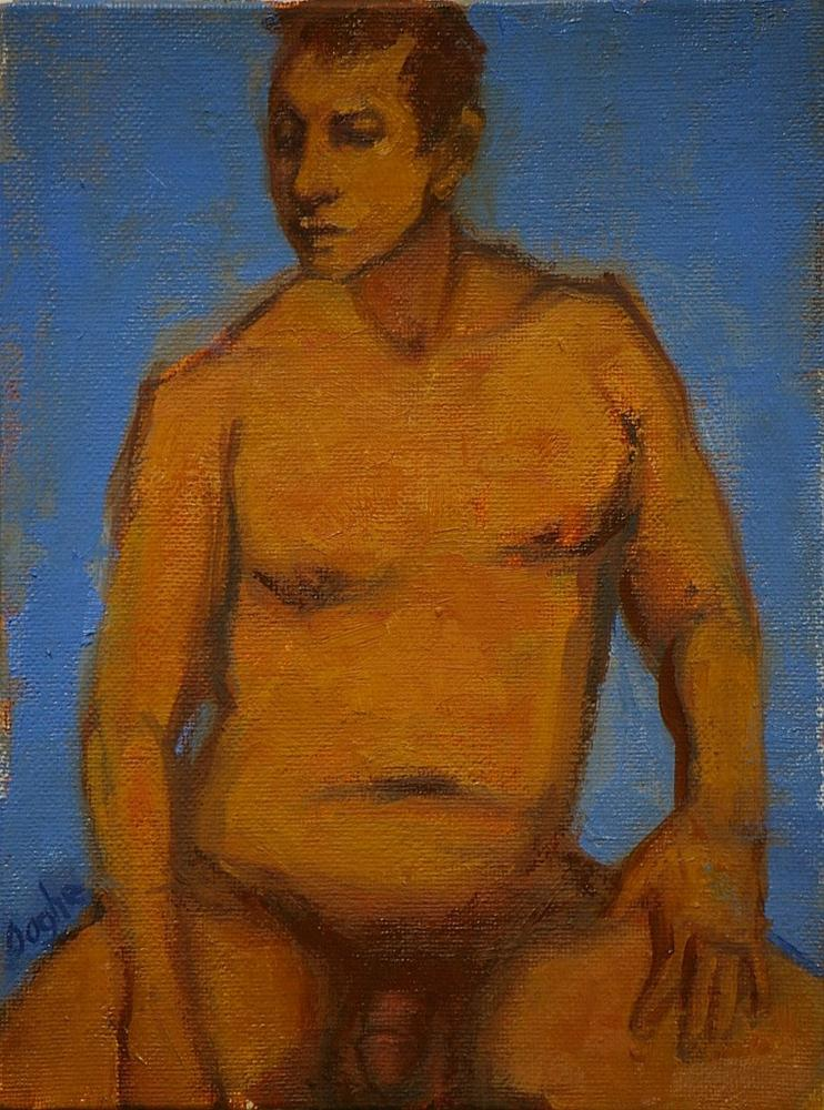 """Seated Male Nude"" original fine art by Angela Ooghe"