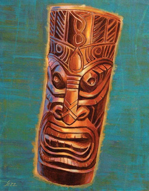 """Ebony Tiki"" original fine art by Shawn Shea"