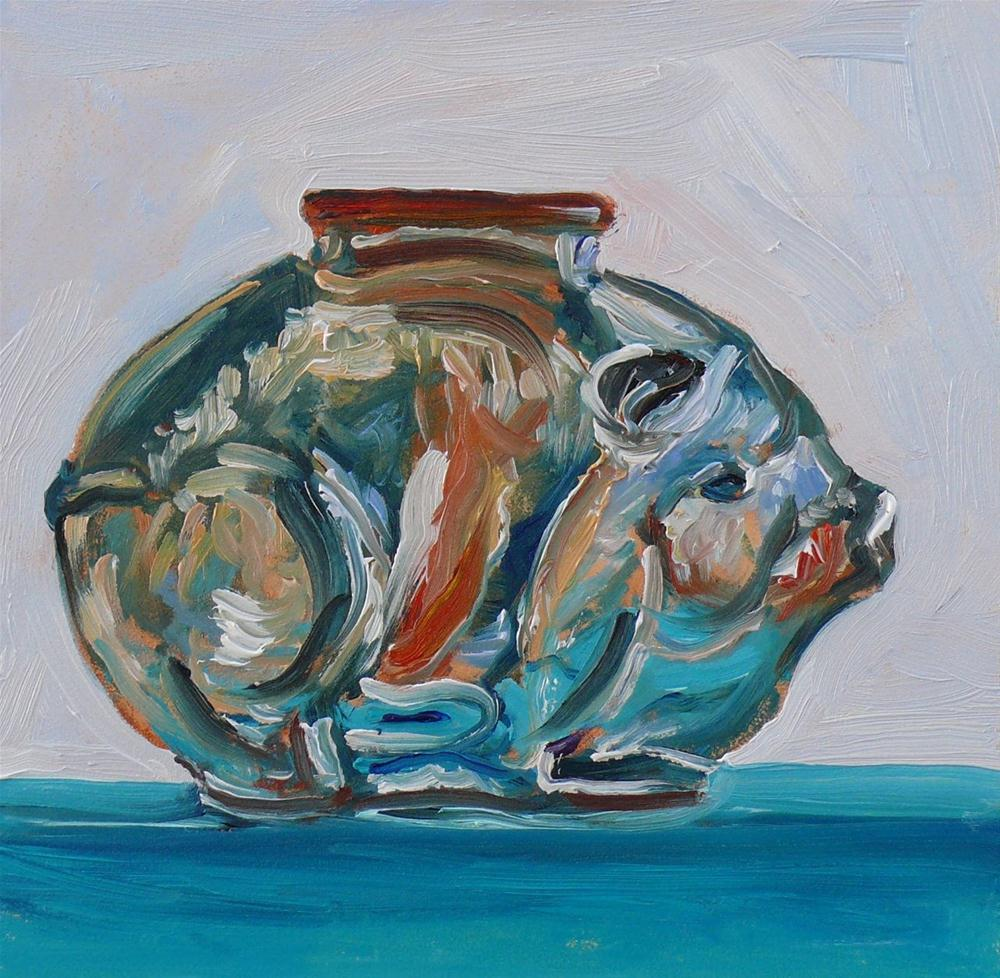 """625 Glass Piggy Bank"" original fine art by Darlene Young"