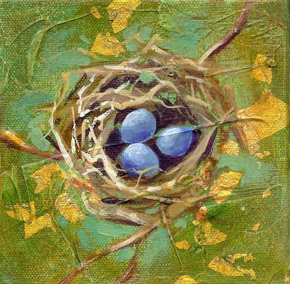 Blue Bird Nest original fine art by Margie Whittington