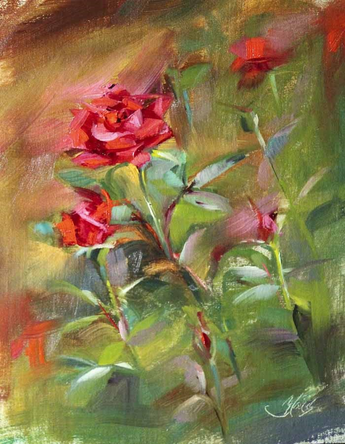 """Red Rose Garden Plein Air"" original fine art by Pamela Blaies"