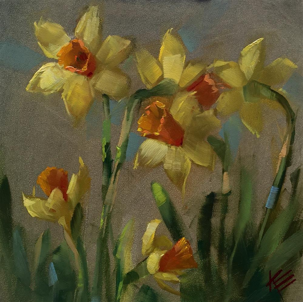 """Daffodil Delight"" original fine art by Krista Eaton"