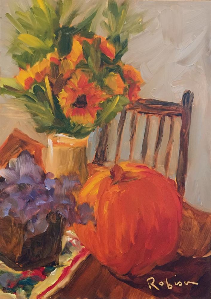 """Pumpkin and Sunflowers"" original fine art by Renee Robison"