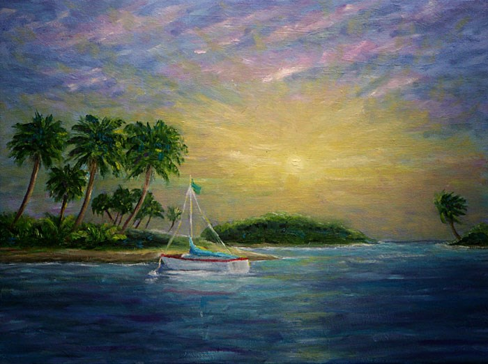 """Tropical  Sunset"" original fine art by Sunny Williams"