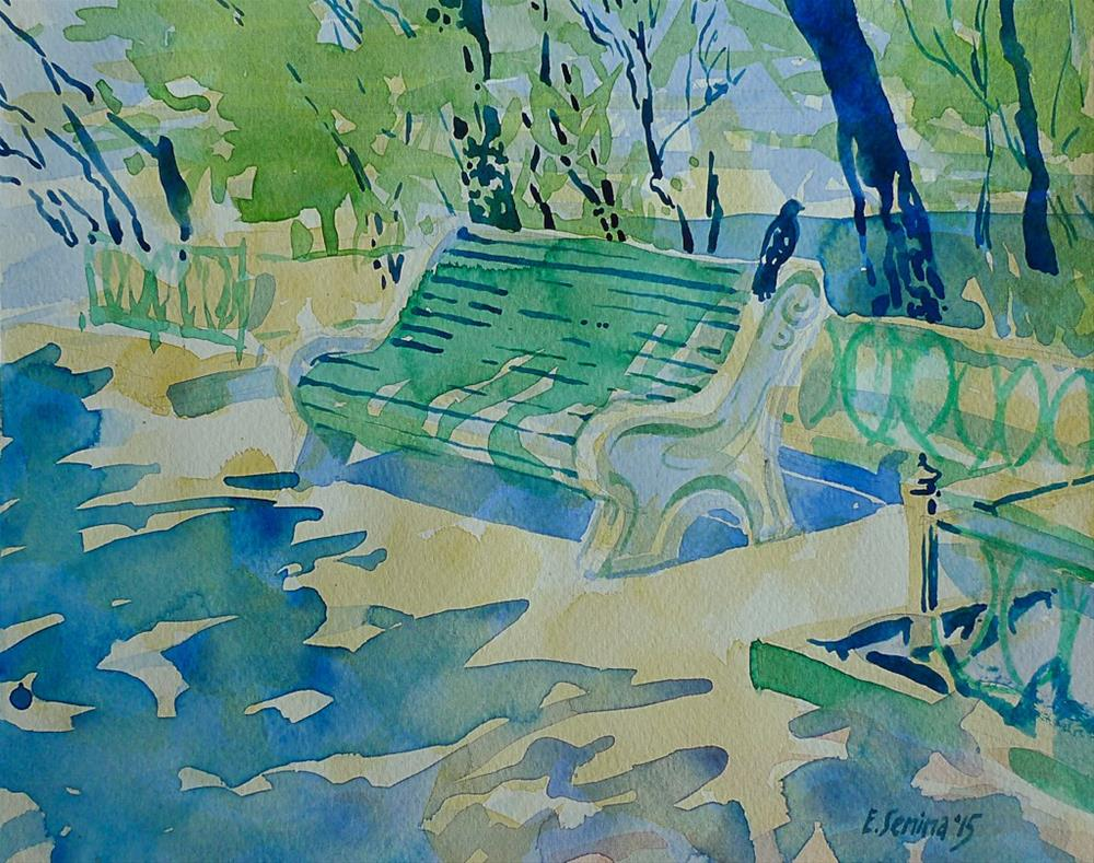 """Spring Bench"" original fine art by Elena Senina"