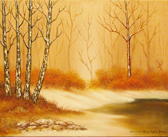 """Winter's Gold"" original fine art by Mary Sylvia Hines"