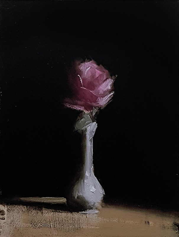"""Rose in Bud Vase"" original fine art by Neil Carroll"