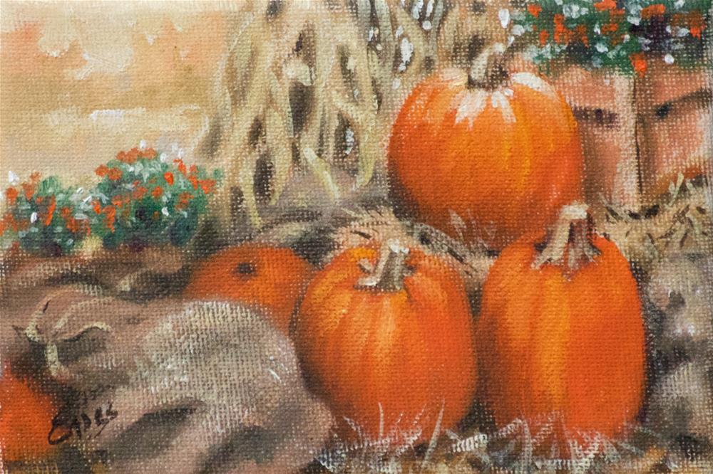 """""""Burlap Bags and Pumpkins"""" original fine art by Linda Eades Blackburn"""