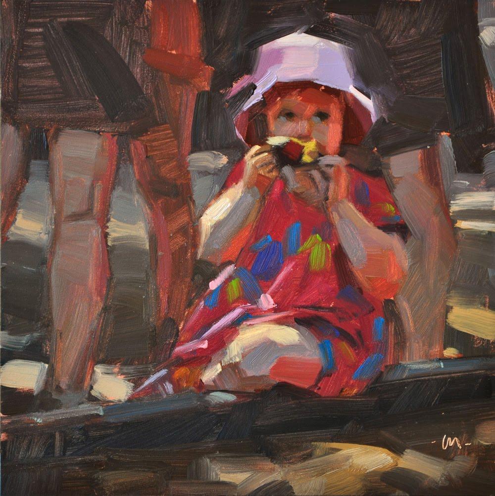 """Dappled Apple Snack"" original fine art by Carol Marine"