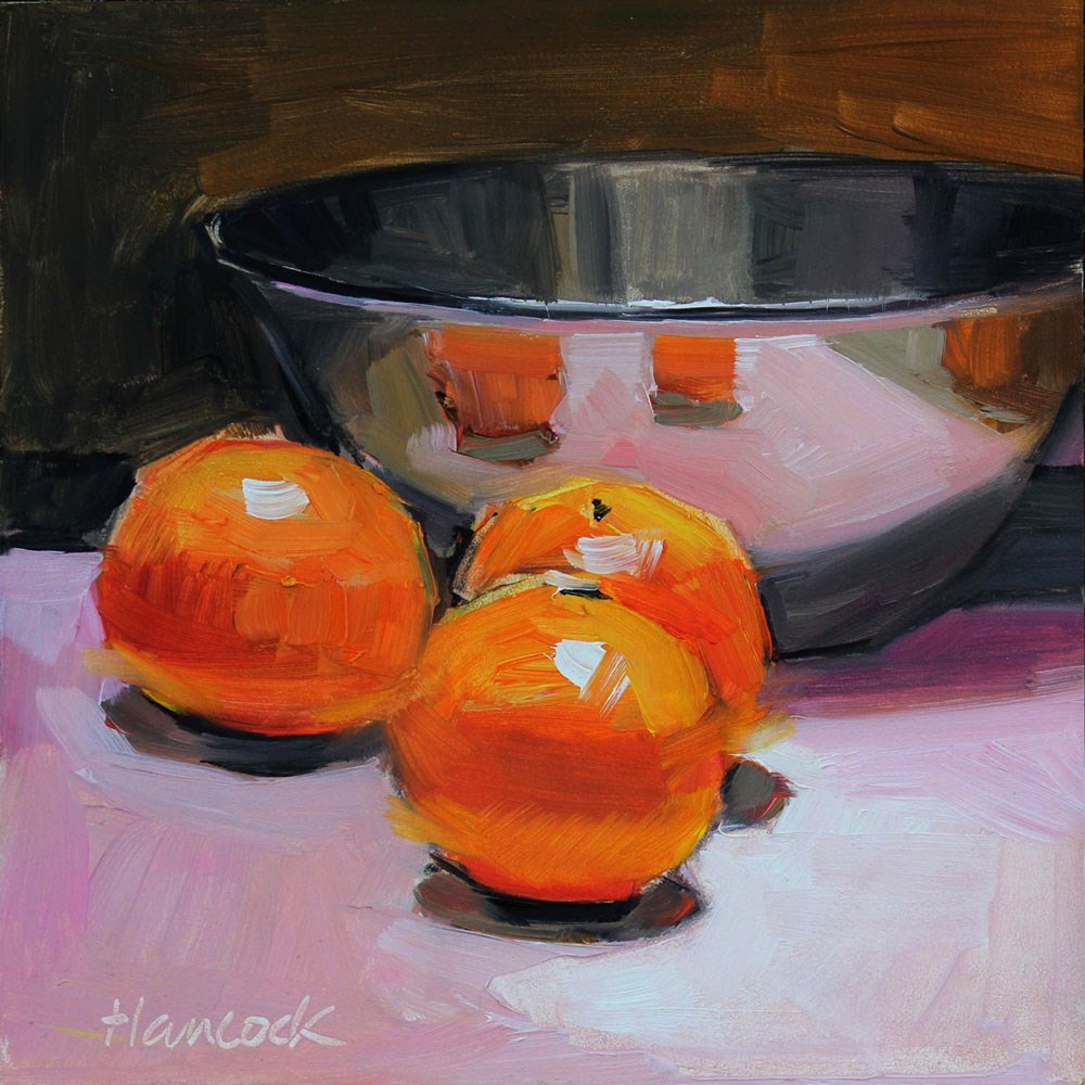 """Low Silver Bowl Three Clementines"" original fine art by Gretchen Hancock"