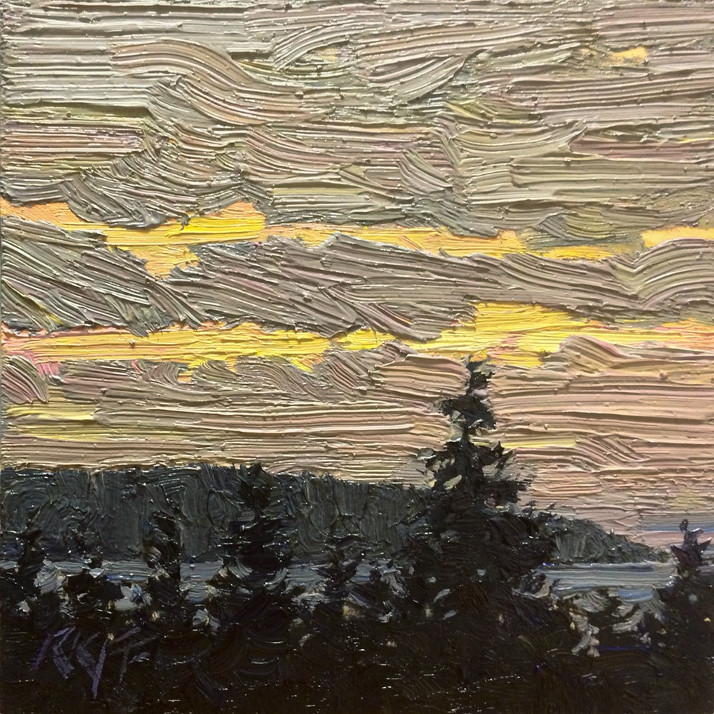 """Quiet Evening: 6x6 oil on panel"" original fine art by Ken Faulks"