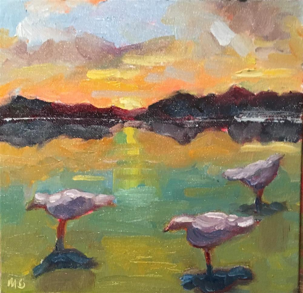 """Wading for Dinner"" original fine art by Marcia Bergtholdt"